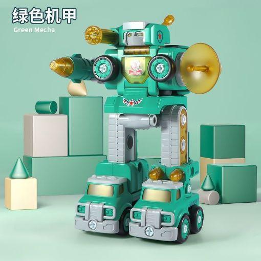 Picture of 儿童合体汽车机器人变形玩具带灯光音效组装拆装拧螺丝拼装模型
