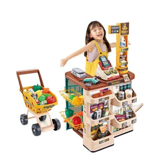 Picture of 女孩过家家套装仿真收银机3岁生日礼物6儿童超市收银台玩具购物车