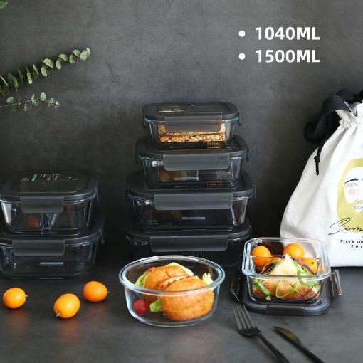 Picture of 高鹏硅玻璃饭盒(无分格)1040ML + 1500 ML