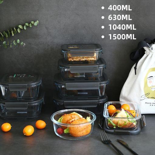 Picture of 高鹏硅玻璃饭盒(无分格)400ML + 630ML + 1040ML + 1500 ML